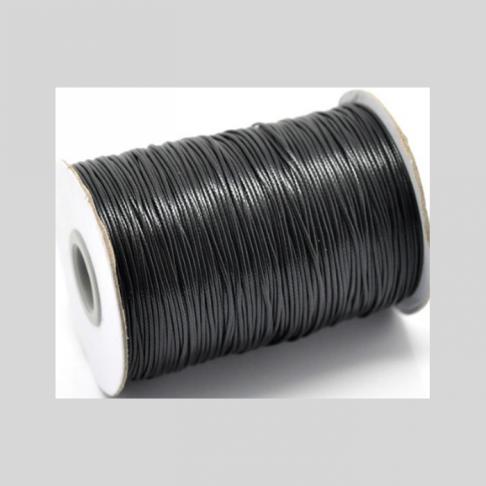 KP-5854 Virvutė  vaškuota, juoda, storis 1mm, kaina už 1 metrą