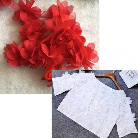 NER-GE662  Medžiaginės gėlytės, 12 vnt, apie 5 cm,  RAUDONOS