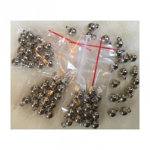 SID-BR1517  Pakabukai-burbuliukai, metalizuoti, 6mm plius kilputė, 15 vnt.