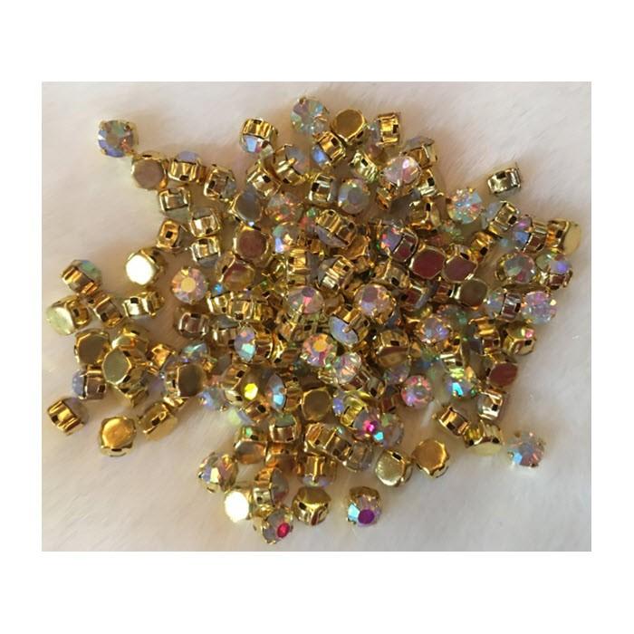 DT-AK16  Prisiuvamos kristalo akutės, 6mm, 10 vnt., AB sp.