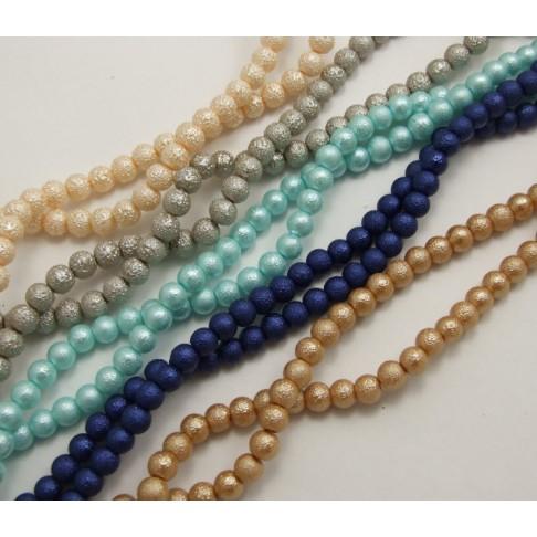 42704 Perliukas stikl, dekor., 8mm, mėlynas