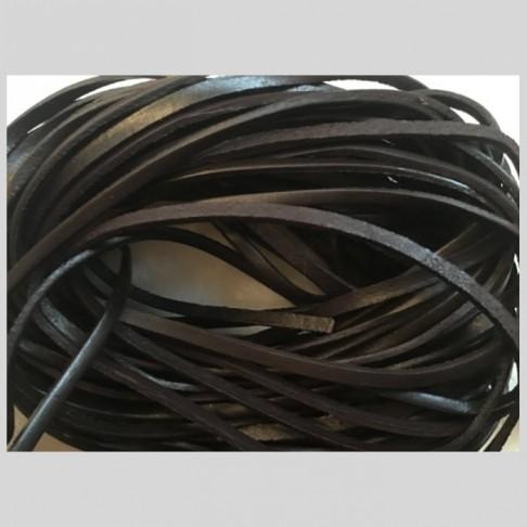 V-NAT442 Natūralios odos virvutė, apie 4mm,  JUODA, 50cm