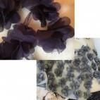 NER-GE801 Medžiaginės gėlytės, 12 vnt, apie 5 cm, TAMSI  VIOLETINE