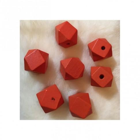 MED-K4 Mediniai karoliukai, apie 25mm, 7 vnt., RAUDONI