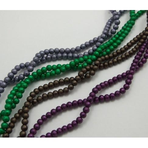 64516 Perliukas stikl, dekor., 6mm, žalias