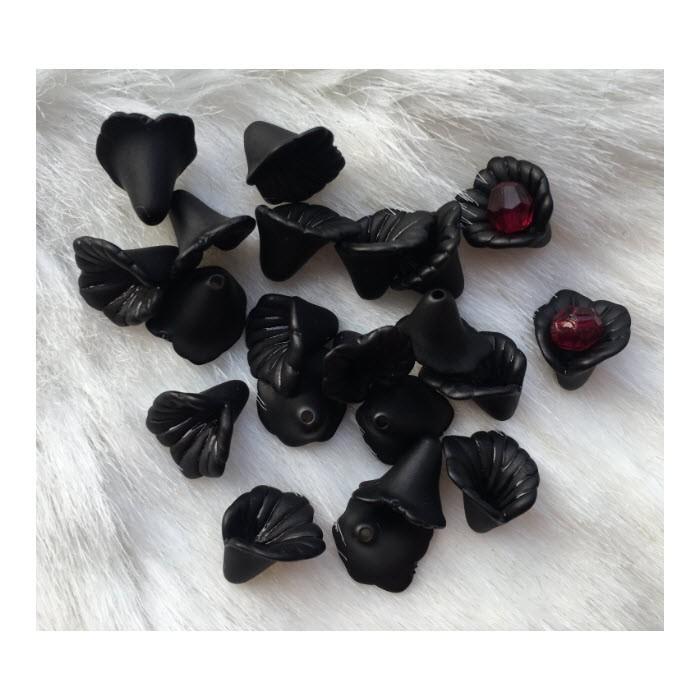 AKR-GEL78J Akrilinė gėlytė, juoda, 12mm