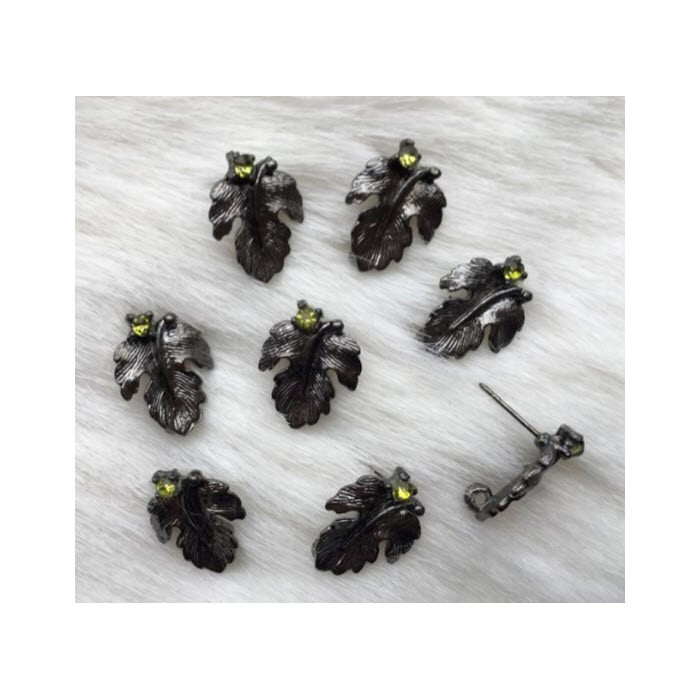 """JUOD-99712 Auskarams, """"Lapeliai"""", 15mm, su žalsvom kristalo akutėm"""