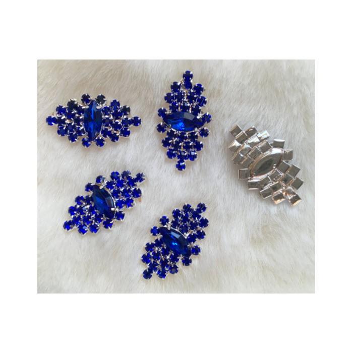 DT-KR3521  Klijuojajama, prisiuvama, detalė iš kristalo akučių, 35x20mm, MĖLYNA