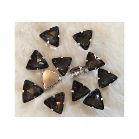 "DT-TR1181 Detalė-intarpas, ""Trikampis"", 18mm, kristalo TAMSI DEIMANTO sp."
