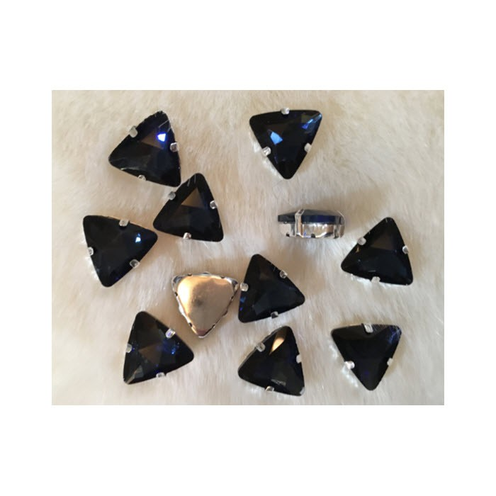 "DT-TR1183 Detalė-intarpas, ""Trikampis"", 18mm, kristalo MONTANA MĖLYNA sp."