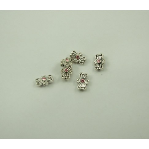 7-0076 Intarpas, sidabruotas, su rožine Swarovski akute, 15x10mm