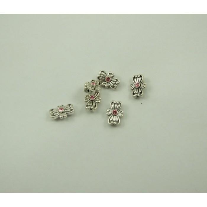 7-0076 sidabruotas, su rožine sw. akute, 15x10mm, 1 eilės einančios išilgai intarpo, kaina už 1 vnt.