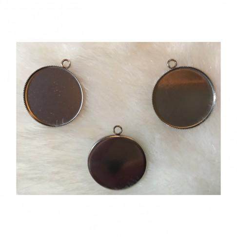 7-NP3000 Nerūdyjančio plieno ruošinys, pakabukams, auskarams, tinka apie 30mm kaboš., 1 vnt.