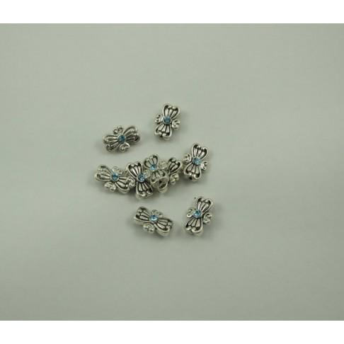 7-0077 Intarpas, sidabruotas, su žydra Swarovski akute, 15x10mm