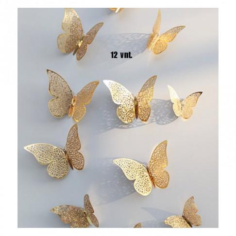 DR-DZ111 Drugeliai, patalpų, daiktų dizainui, aukso sp., 12 vnt., gavus islankstyti:)