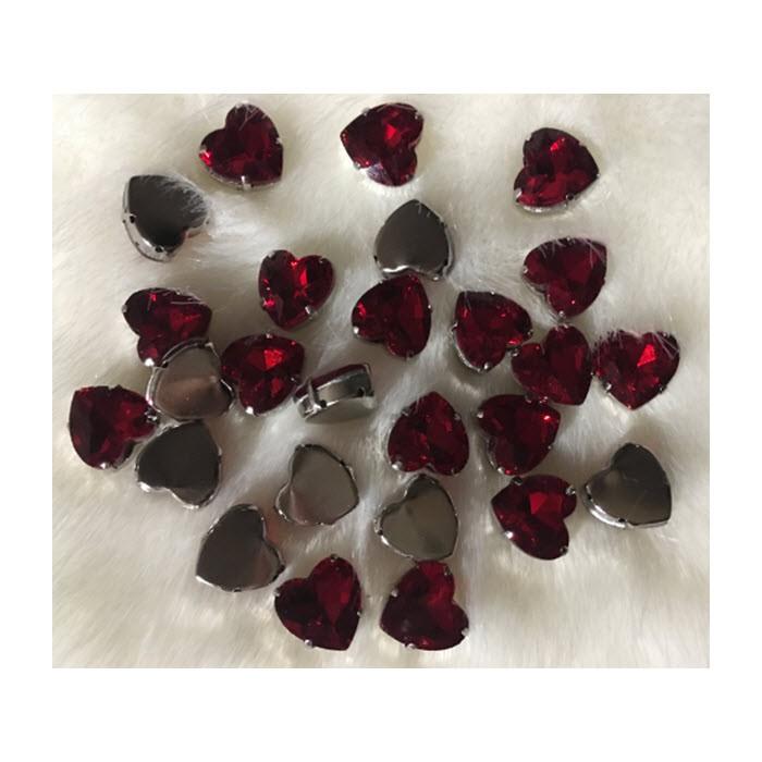 DT-KR448 Intarpas-detalė, širdelė, 12 mm, kristalo RAUDONA sp.