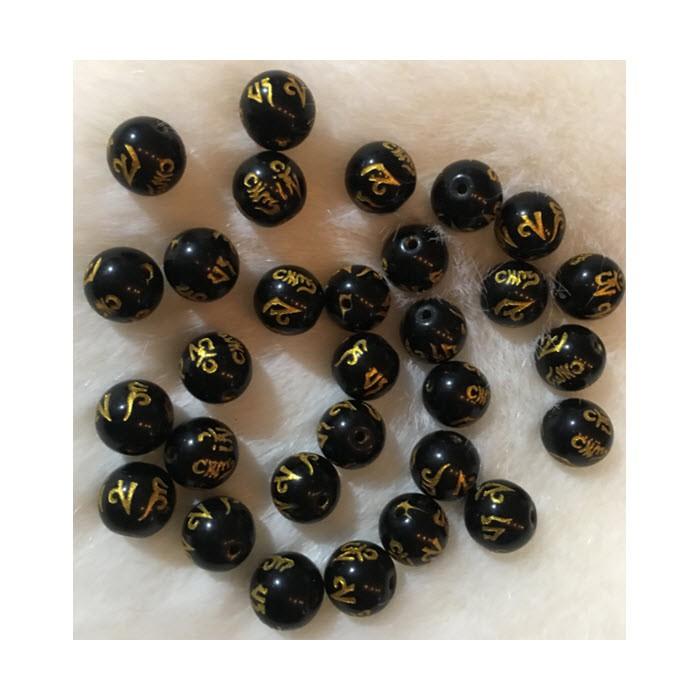 KAR-ST30123 Stiklinis raižytas karoliukas, juodas su aukso sp. raštais, 10mm