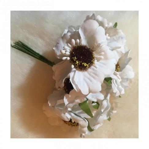 G-BAS33   Dirbtinė gėlytės, su koteliu, 6 vnt., BALTOS