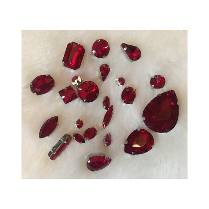 KRS-KPS3  Prisiuvamų kristalo detalių rinkinys, RAUDONA
