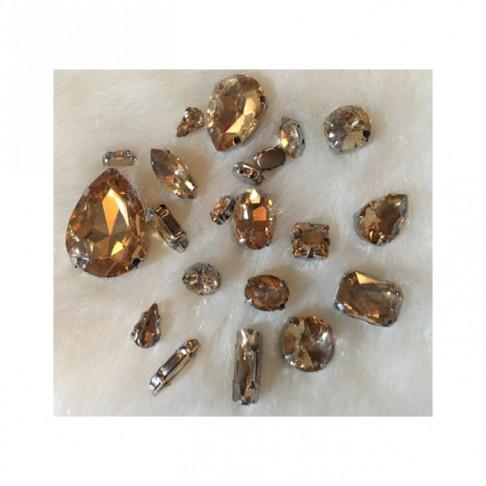 KRS-KPS4  Prisiuvamų kristalo detalių rinkinys, NUDE-RUDA sp.