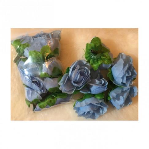 G-DK821  Dirbtinės gėlytės, apie 3cm, ŽYDROS, 10 vnt.