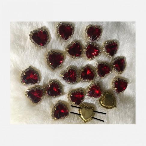 """KRS-SD1  Prisiuvama detalė iš kristalo akučių, """"RAUDONA ŠIRDELĖ"""", 15mm"""