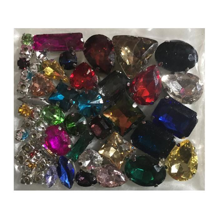DT-MIX55 Prisiuvamų kristalų-intarpų MIX, apie 50 vnt., SPALVŲ MIX