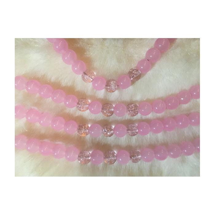 ST-10108 Stiklinių karoliukų gija, 10mm, 15 vnt., Rožiniai.