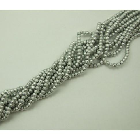 PER-4162 stiklinis perliukas, sidabro sp., 4mm
